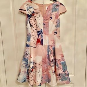 JULIA JORDAN PRINTED FIT & FLARE CAP SLEEVE DRESS